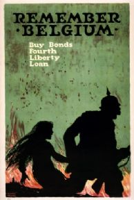 Vintage War Poster Remember Belgium--Buy bonds--Fourth Liberty Loan / Ellsworth Young.